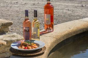 Risotto aux gambas et vin rosé et blanc de pierrevert petra viridis